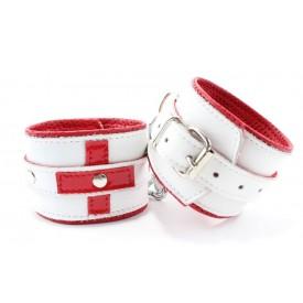 Бело-красные кожаные наручники для медсестры